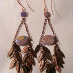 Dyed Purple Agate & Copper Leaves Earrings