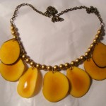 Yellow Tagua Nut + Gold Glass Pearl Necklace