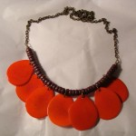 Red Orange Tagua Nut + Wood Necklace