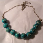 Turquoise Wood Bead Necklace